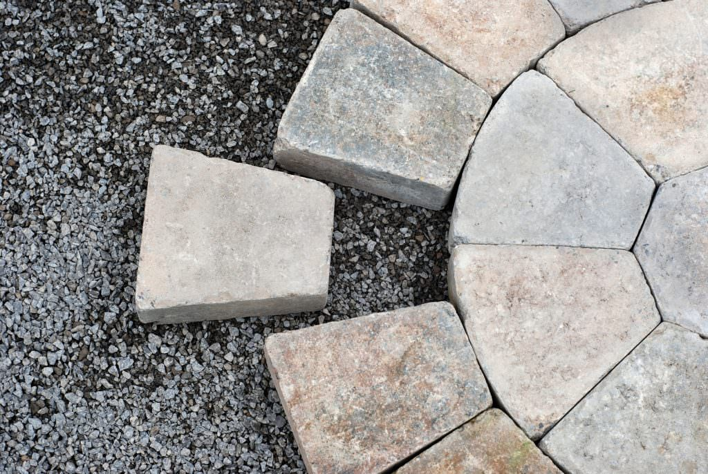 Concrete paving in a circular pattern