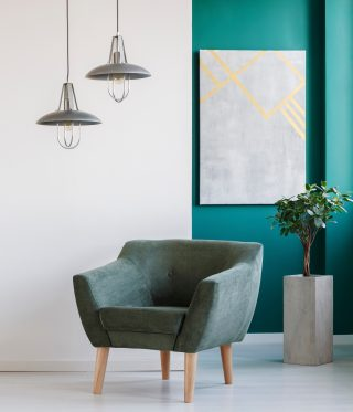 teal paint feature wall
