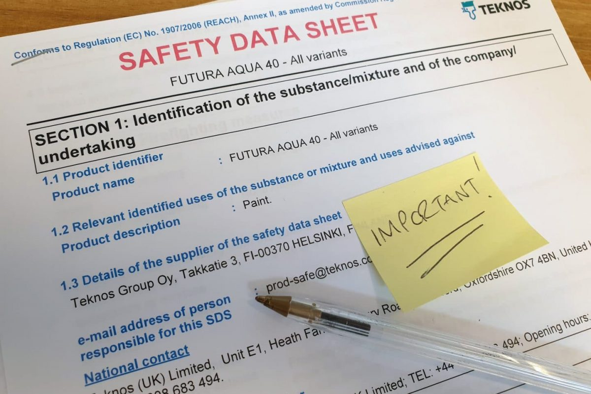 Paint Safety Data Sheets