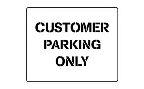 Centrecoat Industrial Road Stencil, Customer Parking Only